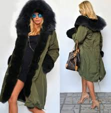 coat fur hood camouflage green black faux fur big jacket winter outfits wheretoget