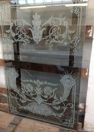 sandblasted glass window for a pub with a clear background