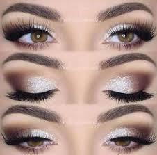 brown silver smoky eyes with sparkle nail design nail art nail