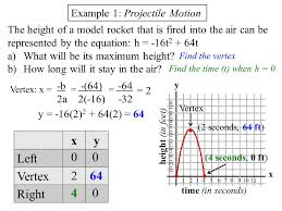x y time in seconds height in feet example 1 projectile motion