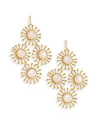 nest women s metallic starburst mother of pearl chandelier earrings