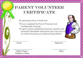 Volunteer Certificates Parent Volunteer Certificate Www Picsbud Com