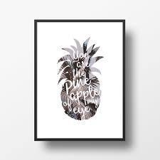 Kitchen Artwork Pineapple Typography Digital Art Print Love Quote Food Fruit