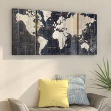 old world map blue 3 piece graphic art print set on wrapped canvas on yellow blue and grey wall art with disney canvas art wayfair