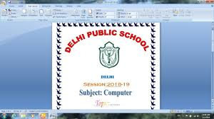 front page for computer project how to make front page for school project in microsoft word 2007