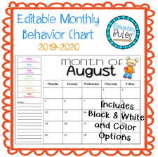 Editable Monthly Behavior Chart 2019 2020 Back To School Explanation Letter