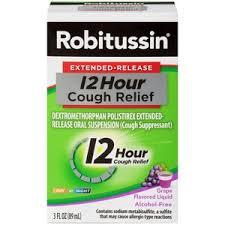 Robitussin Extended Release 12 Hour Cough Relief Cough Suppressant Liquid Grape Flavor 3 Oz