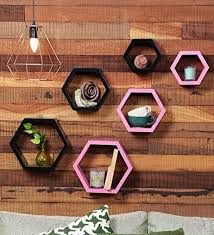 Wooden Shelf Designs India Collectible India Set Of 6 Black Pink Designer Hexagon