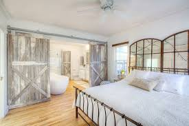 bedrooms cute farmhouse bedroom with rustic barn sliding door to