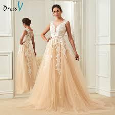 aliexpress com buy dressv champagne wedding dress scoop neck a