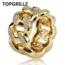 topgrillz cuban link chain ring men s hip hop gold color iced out cubic zircon jewelry rings 7 8 9 10 11 five size