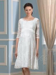 knee length scoop neck half sleeves lace maternity wedding dress
