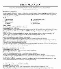 Asset Management Analyst Resume Sample Analyst Resumes