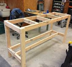 simple workbench plans. diy workbench. i like the bottom shelf only being half-depth, so you can stand close to worktop. maybe for kitchen island? simple workbench plans