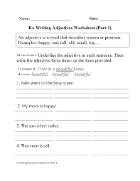 best adjective images school stuff teaching  re writing adjectives worksheet part 1