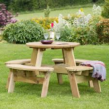 zest 4 leisure katie round wooden picnic table garden bench seat fsc 4 seater