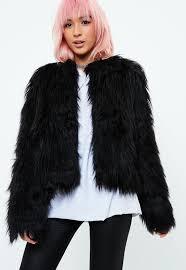 gy faux fur coat black
