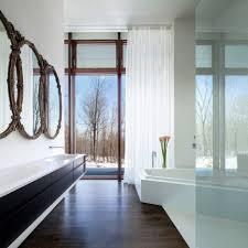 dark brown hardwood floor for modern bathroom flooring design