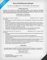 Executive Chef Resume Objective
