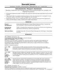 Resume Template Engineering Project Manager Resume Sample Free