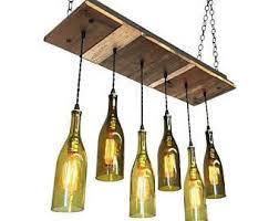 New Year Sale Dining Chandelier - Reclaimed Wood Light Fixture- 6 Wine  Bottle Rustic Chandelier