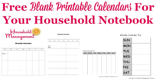 Monthly Calendar Notebook Free Blank Printable Calendars For Your Household Notebook