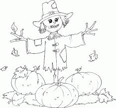 Scarecrow Pumpkin Patch Coloring Pages Printable