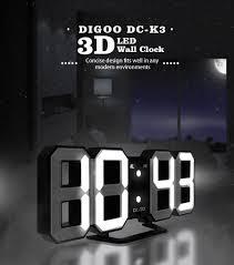 digoo dc k3 multi function large 3d led digital wall clock alarm clock with