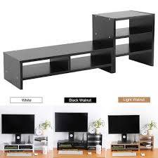 desktop monitor riser tv stand desk organizer storage box for computer laptop us desk monitor riser f76