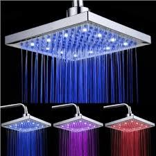 8 inch chromed brass square led rain shower head 0913 8104