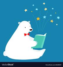 cute polar bear reading a book vector image