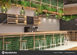 Modern Design Bar Loft Style Green Colors Visualization