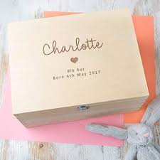 personalised baby gift wooden keepsake box memory box s and boys designs available
