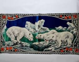 vintage tapestry polar bear rug wall hanging made in italy