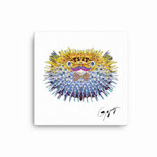 pufferfish wall art by gogimogi whimsical hipster blowfish art art for kids animal print on canvas yellow and blue pufferfish art gogimogi on whimsical wall art on canvas with pufferfish wall art by gogimogi whimsical hipster blowfish art