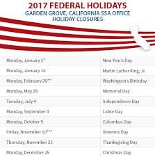 garden grove ca social security office 2017 holiday closures