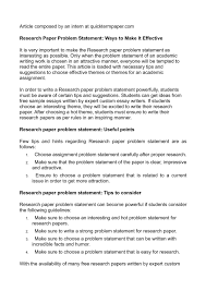 Research Problem Statement Examples Sample Thesis Statement For Research Paper Samples Term