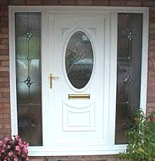 stunning door and side panels with beveled glass