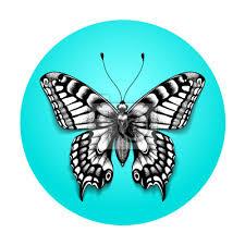 Fototapeta Tetovací Krásný Motýl Pro Vaše Rameno Realistický Motýl V Modrém