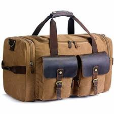 suvom canvas travel duffels duffle bag leather weekend carry on luggage holdalls