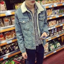 autumn winter new mens fur lining fleece jacket fashion slim fit motorcyle jean jacket denim coat