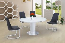 round white glass high gloss dining table and 4 grey chairs set