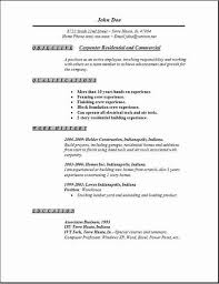 Carpenter Residential And Commercial Resume Objective Carpenter Job