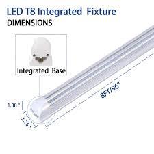 Fluorescent Light Fixture Sizes 8ft Led Light Fixtures 72w Led Shop Light 8ft 5000k Daylight White Dual Side T8 V Shape Integrated 8 Foot Led Tube Lights 150w Fluorescent Light
