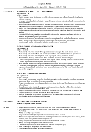 Examples Of Public Relations Resumes Public Relations Coordinator Resume Samples Velvet Jobs