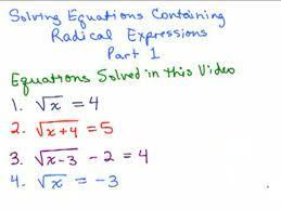 solving radical equations 1 help
