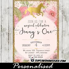 Birthday Invatations Unicorn Birthday Invitations Watercolor Pink Roses Gold Glitter