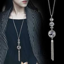 <b>Collares de moda 2019</b> Choker Tassel Long Necklace Sliver Plated ...