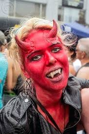 devil face painting red devil makeup horns fangs blonde devil horns face paint good vs evil devil face