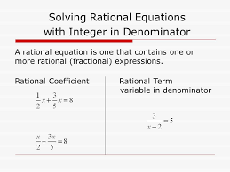 a rational equation is one that contains one or more rational fractional expressions